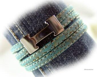 Armband Kork Wickelarmband Korkarmband blau türkis petrol silber Magnetverschluss Edelstahl vegan Damen Geschenk für Sie Ehefrau Freundin