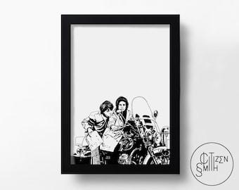 HAROLD & MAUDE - Grab The Shovel, Harold - Hal Ashby - Hand-Drawn Film Art Print/ Movie Poster