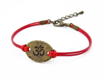 OM Bracelet, Red Bracelet, Hindu Symbol Bracelet, Yoga Bracelet, Friendship Bracelet