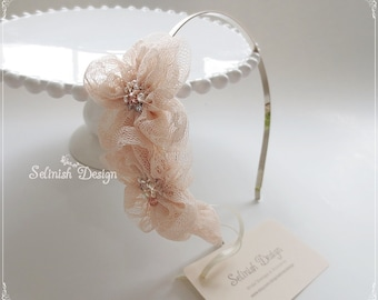 Champagne Bridal Headband, Flower Wedding Headband, Bridal Accessories, Bridal Flower Hair, Peach Headband- code:HB156peach