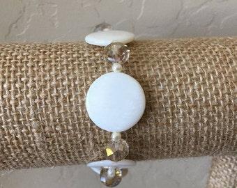 White Bracelet in Shell, Crystal Bracelet, Stretch Bracelet, Fits 6-7 inch wrist, Lululily Jewelry