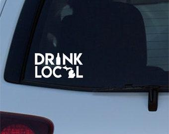 Michigan Drink Local Beer Permanent Adhesive Window Vinyl Decal