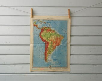 1951 Vintage South America Map