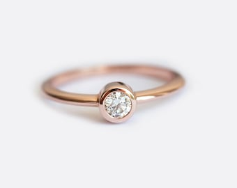 Solitaire Diamond Ring, Tiny Diamond Ring, Simple Engagement Ring, Thin Diamond Band, Delicate Diamond Ring, Diamond Solitaire, MinimalV