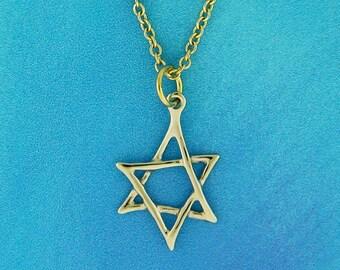 Gold Jewish star Pendant, 14K Gold  Star of David, Bat Mitzvah gift, Judaica  pendant, Solid gold pendant, Real gold pendant, gold pendant