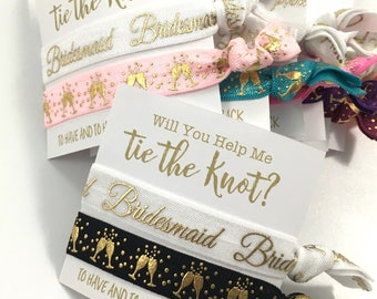 Bridesmaid Gift | Bridesmaid Proposal | Bachelorette Party Favors | Bridesmaid Hair Tie | Black and Gold | Will You Be My Bridesmaid Gift