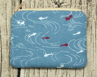 Fish in the pond - Zipper pouch / coin purse / card bag (padded) (ZS-238)