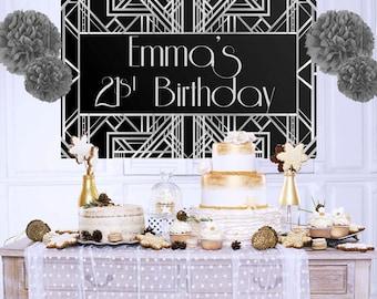 Roaring 20's Personalized Backdrop - Silver Birthday Cake Table Backdrop, Art Deco Photo Backdrop, Custom Party Backdrop