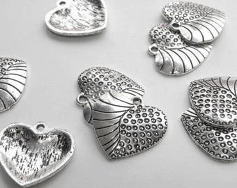 10 Circles & swirls large heart charms antique silver 24x22mm 1961FX