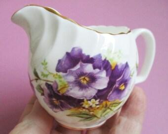 Crownsford Creamer Violets Bridal Shower Gift Bone China Creamer English England English Bone China Vintage Porcelain Small Personal Creamer