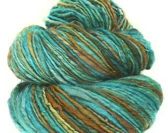 Handspun yarn handdyed superfine Merino wool yak silk singles yarn
