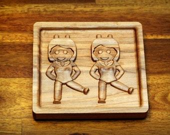 "Wooden Dancing Twins Emoji (5"" Rectangular)"