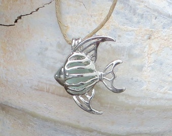 Sea Glass Angel Fish Necklace Silver Pale Aqua Genuine Beach Glass Tropical Summer by Wave of Life™