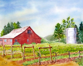 Vineyard Art Old red barn Landscape Scenic Vineyard Landscape  Painting Watercolor art print  Napa Valley vineyard Wine county art