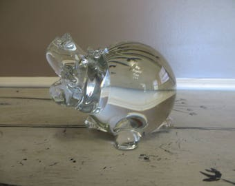 FM Ronney Art Glass Hippo Paperweight Sweden Glass Hippopotamus