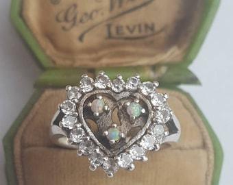 Opal Heart Ring Vintage Opal Silver and CZ Statement Ring