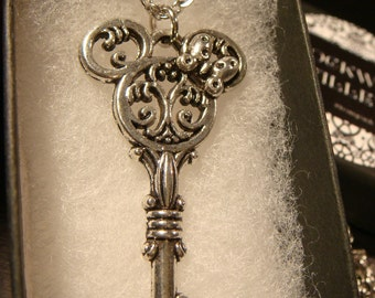 Antique Silver Mickey / Minnie Skeleton Key Necklace (2360)