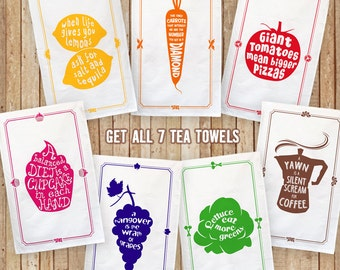 7 Funny Kitchen Cotton Tea Towels - Full Set of all 7, Very Special Offer, Foodie Gift, Kitchen Lover Gift, Funny Food Quotes