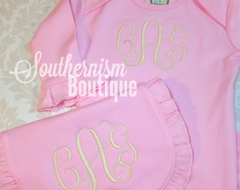 Baby Girl Coming Home Outfit, Baby Girl Set, Newborn Gown or Bodysuit with Hat, Monogrammed Baby Gown, Going Home Outfit, Baby Girl Clothes