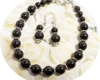 Black Bracelet and Earrings Set, Bridesmaid Jewelry, Black Jewelry, Wedding, Jewelry Set,Bridal Accessories, Black Pearl Jewelry