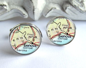 Custom Vintage Map Cufflinks, Personalized Cuff Links, Men's Gift, Destination Of Your Choice