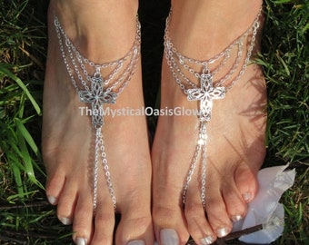 Sale PAIR Foot chain barefoot sandals foot jewelry, cross anklet, toe ring anklet, foot thong, barefoot sandles, fitted for women or toddler
