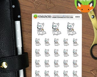 Doctor Fox - Medical Sick Day Fox Doctors Appointment - Planner Stickers (C0055)