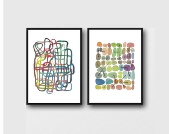 Office Decor, Abstract Watercolor Prints Set of 2 Art Prints,  Watercolor Paintings , Abstract Prints