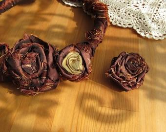 Statement Necklace- Choker  Floral Statement Necklace, Bijou Textile,  Fibre Jewelry, Unique Textile Necklace