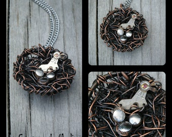 Vintage pendant, Steampunk, Nest, Birds, eggs from re-used watch parts