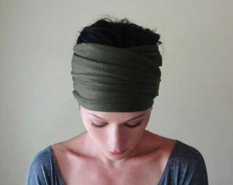 MILITARY GREEN Headband, Olive Drab Jersey Head Wrap, Yoga Headbands for Women,  Extra Wide Headband, Boho Headband, Jersey Headband Turban