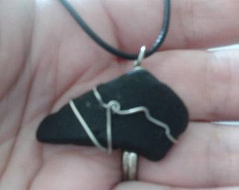 Blackish Beach pebble pendant