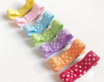 Rainbow dot hair clips, girl hair clip, toddler hair clips, ribbon clip, hair clip, baby hair clip