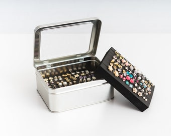 Tin Jewelry Box - Earring Holder - EXTRA LAYER - Travel Earring Box