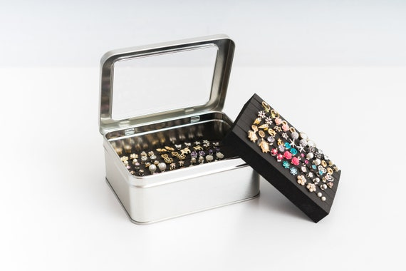 Tin Jewelry Box Earring Holder EXTRA LAYER Travel