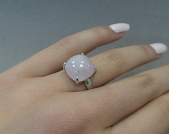 Pink Quartz Sterling Silver Ring with 12mm Cabachon 4.85cts/ Sterling Silver Natural Pink Quartz with 12mm Cabachon Ring