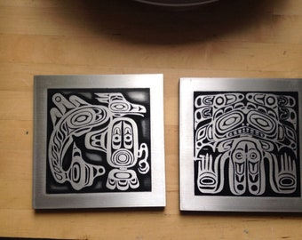 Haida west coast native metal engraved art souvenir picture tribal creat First Nation