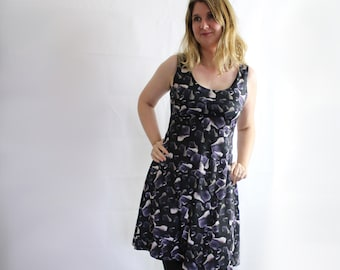Gemstone skater dress blue john crystal semi precious stone texture fit flare dress all sizes black rocks pagan clothing alternative