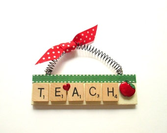 Love to Teach Scrabble Tile Ornament
