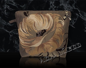 """LUXURY gift idea clutch-silk """"MARARHI"""" toilet. White/amber/grey/black embroidered peonies on a background color granite"""