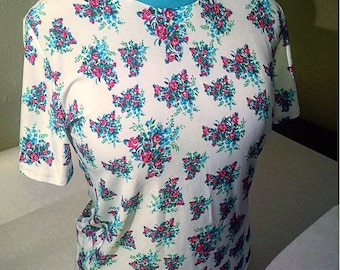 Fuchsia and Blue Floral Silky Synthetic Tee - FREE SHIPPING
