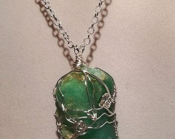Handcrafted Wire Wrapped Amazonite Gemstone Pendant,Gift for Her,Reiki, Druid,PowerCrystal,Green,Yoga Jewelery,Healing Crystal,Boho Jewelery