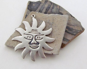Silver Sun Charm, Vintage Sterling Silver Jewelry, Celestial Jewelry, Silver Charm Pendant, Sun Charm, Summer Jewelry, Celestial Charm