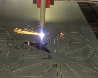 Plasma cut mild steel wall garden art screen