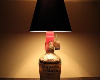 Repurposed Makers Mark Bourbon Bottle Lamp