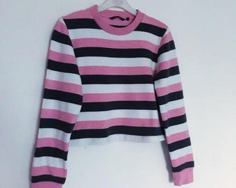 Vintage pink stripe crop sweater, grunge top XS-small