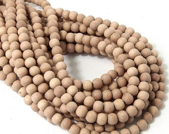 Unfinished Rosewood, 6mm-7mm, Round, Smooth, Natural Wood Beads, Small, Full strand, 70pcs - ID 1889