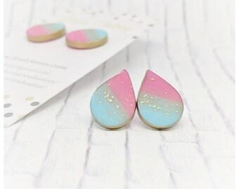 Pink and blue earrings nickel free earrings cotton candy earrings lightweight earrings gift for her college student gift teardrop earrings