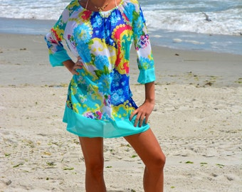 Beach cover up, honeymoon cover up, kimono sleeve tunic