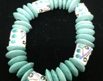 Teal Blue Krobo Stretch Bracelet